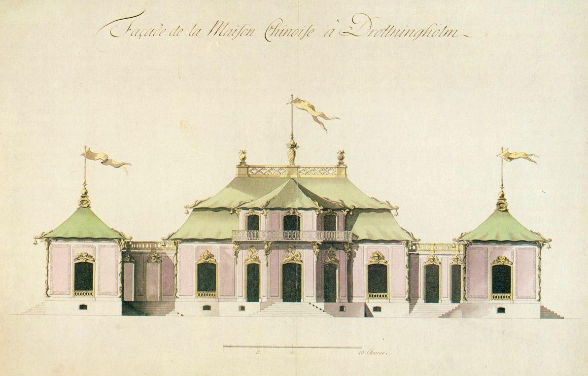 Kina slott, fasadritning från 1763