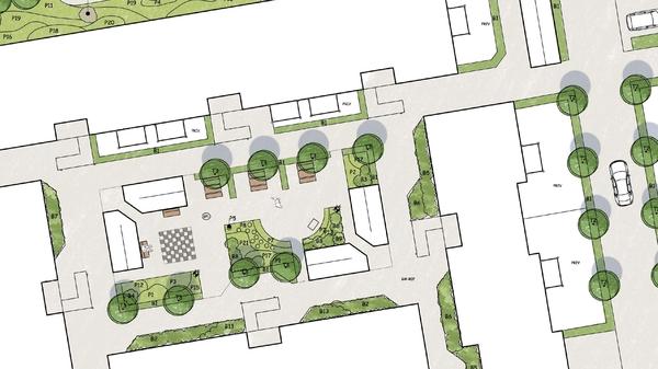 ritning av trädgårdsarkitekt
